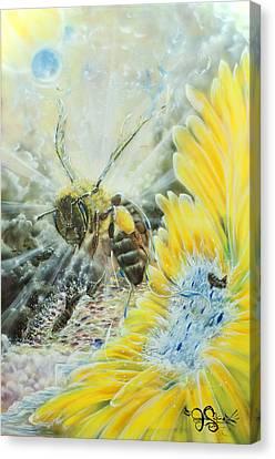 Earth Angels Flight Plan Bee Canvas Print by Joel Salinas III