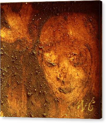 Canvas Print featuring the painting Earth Face by Winsome Gunning
