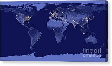 Canvas Print featuring the photograph Earth From Space by Delphimages Photo Creations