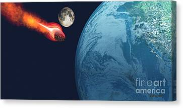 Earth Hit By Asteroid Canvas Print by Corey Ford