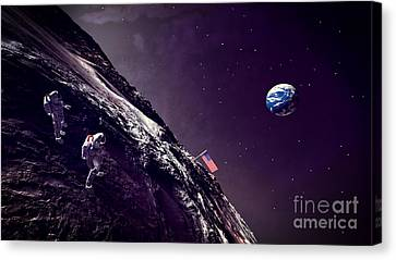 Canvas Print featuring the digital art Earth Rise On The Moon by Methune Hively