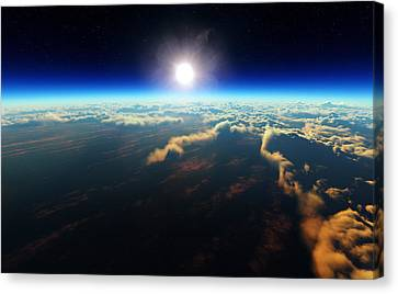 Early Morning Canvas Print - Earth Sunrise From Outer Space by Johan Swanepoel