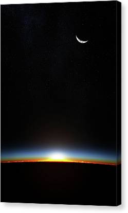 Earth Sunrise Through Atmoshere Canvas Print by Johan Swanepoel