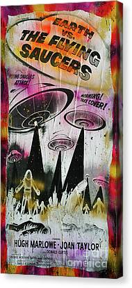 Earth Vs The Flying Saucers Canvas Print by Jd Kline