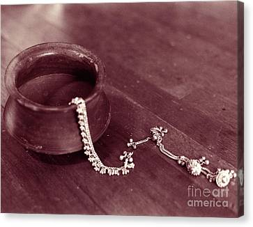 Canvas Print featuring the photograph Earthen Pot And Silver by Mukta Gupta