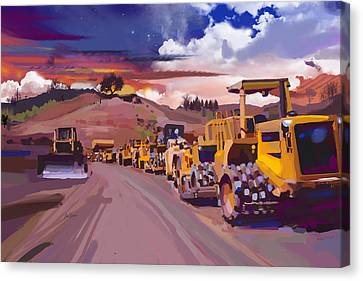 Earthmover Dawn Canvas Print by Brad Burns