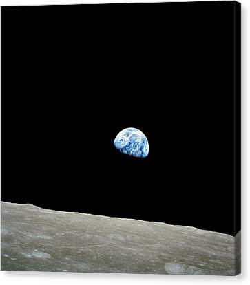 Earthrise Over Moon, Apollo 8 Canvas Print by Nasa