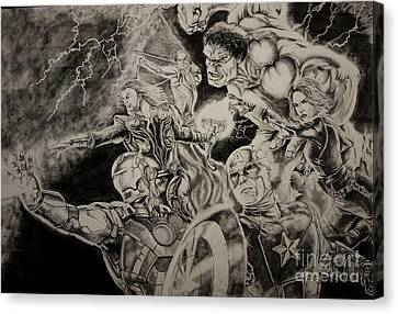 Earth's Mightiest Heroes Canvas Print by Chris Volpe