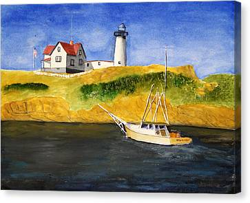 East Coast Lighthouse With Crab Boat Canvas Print by Robert Thomaston