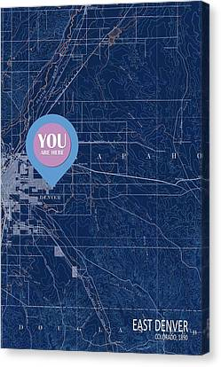 East Denver Old Map 1890 Blue You Are Here Canvas Print by Pablo Franchi