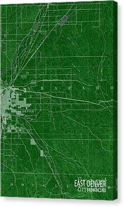 East Denver Old Map 1890 Green Canvas Print by Pablo Franchi