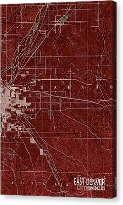 East Denver Old Map 1890 Red Canvas Print by Pablo Franchi