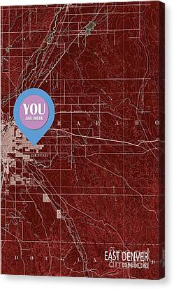 East Denver Old Map 1890 Red You Are Here Canvas Print by Pablo Franchi