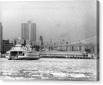 East River Piers Are Endangered By The Oil Slick Caused By The Wreck Of The Empress Bay. 1977 Canvas Print