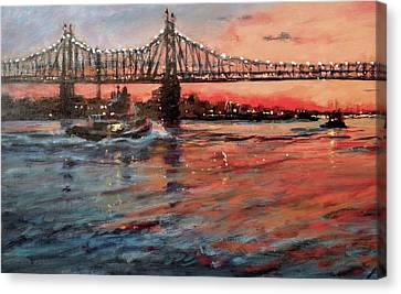 East River Tugboats Canvas Print by Peter Salwen