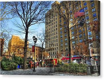 East Village 2nd Avenue And 10th Street At Christmas Canvas Print by Randy Aveille