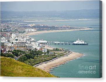 Eastbourne From Beachy Head Sussex Uk Canvas Print by Donald Davis