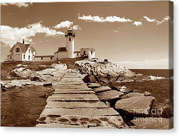 Easten Point Light In Sepia Canvas Print by Skip Willits