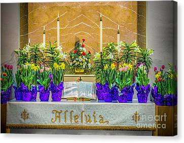 Canvas Print featuring the photograph Easter Alter And Flowers by Nick Zelinsky