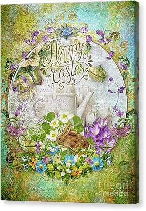Canvas Print featuring the mixed media Easter Breakfast by Mo T
