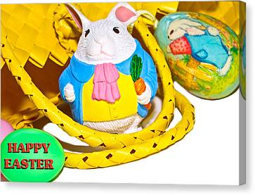 Easter Bunnies And Baskets Canvas Print