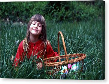 Canvas Print featuring the photograph Easter Egg Hunt by Lori Miller