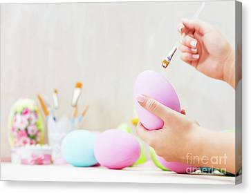 Easter Egg Painting In An Atelier. Canvas Print by Michal Bednarek