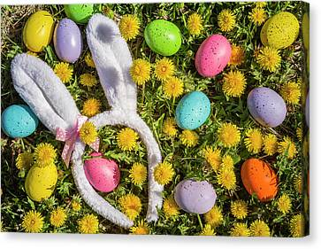 Canvas Print featuring the photograph Easter Eggs And Bunny Ears by Teri Virbickis