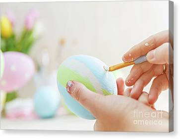 Easter Eggs Handicrafted With Pastel Stripes. Canvas Print by Michal Bednarek