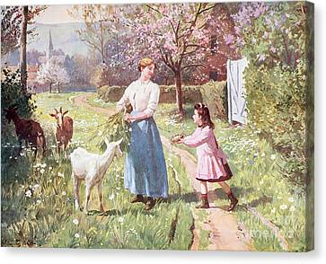 Country Cottage Canvas Print - Easter Eggs In The Country by Victor Gabriel Gilbert