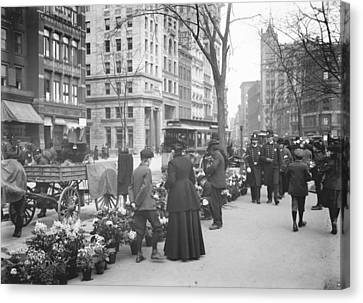 Easter Flower Vendors In New York City Canvas Print by Padre Art