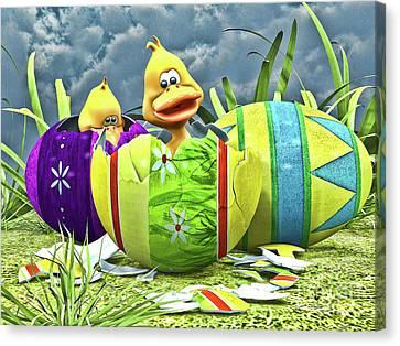 Ducklings Canvas Print - Easter Fun by Alexander Butler