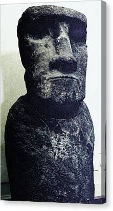 Canvas Print featuring the painting Easter Island Stone Statue by Eric  Schiabor