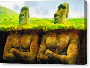 Easter Island Truth - Da Canvas Print by Leonardo Digenio