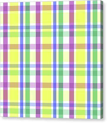 Canvas Print featuring the digital art Easter Pastel Plaid Striped Pattern by Shelley Neff