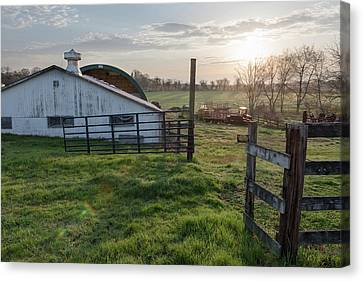 Easter Sunrise On The Farm Canvas Print by Scott Brinkerhoff
