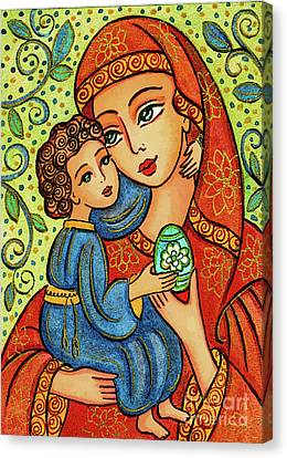 Canvas Print featuring the painting Easter Madonna by Eva Campbell
