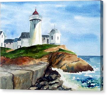 Eastern Point Light Canvas Print by Anne Trotter Hodge