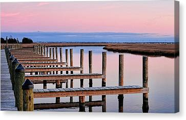 Eastern Shore On The Docks Canvas Print by Lara Ellis