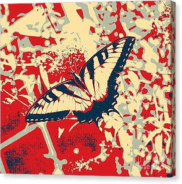 Eastern Tiger Swallowtail Butterfly - Red Abstract Canvas Print by Scott D Van Osdol