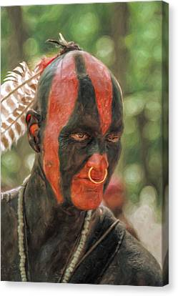 Eastern Woodland Indian Portrait Canvas Print by Randy Steele