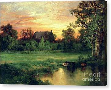 Setting Canvas Print - Easthampton by Thomas Moran