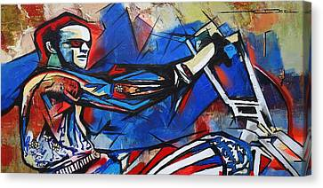 Canvas Print featuring the painting Easy Rider Captain America by Eric Dee