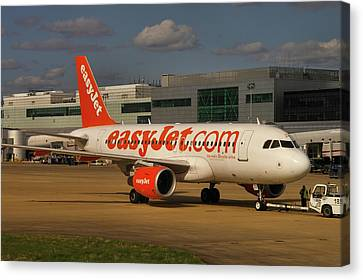Canvas Print featuring the photograph Easyjet Airbus A319-111  by Tim Beach