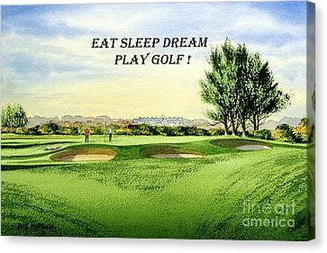 Canvas Print featuring the painting Eat Sleep Dream Play Golf - Carnoustie Golf Course by Bill Holkham