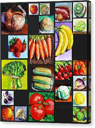Eat Your Vegies And Fruit Canvas Print by John Lautermilch
