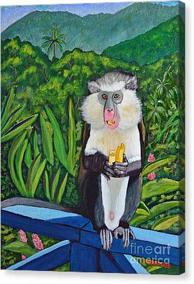 Canvas Print featuring the painting Eating A Banana by Laura Forde