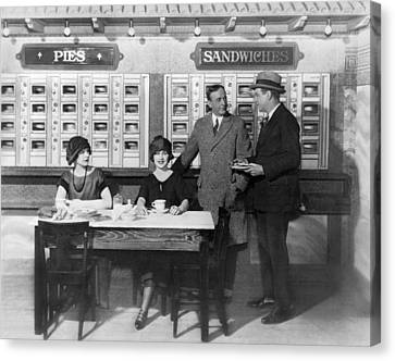 Eating At An Automat Canvas Print by Underwood Archives
