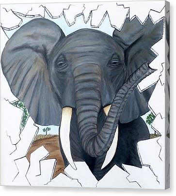 Canvas Print featuring the painting Eavesdropping Elephant by Teresa Wing