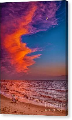 Canvas Print featuring the photograph Evening Fishing On The Beach by Nick Zelinsky